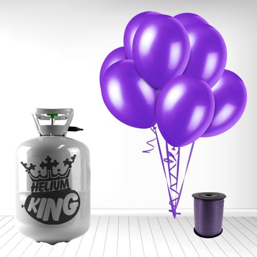Cilindro desechable de gas helio con 30 Globos color Morado oscuro y Cinta Rizadores incluido