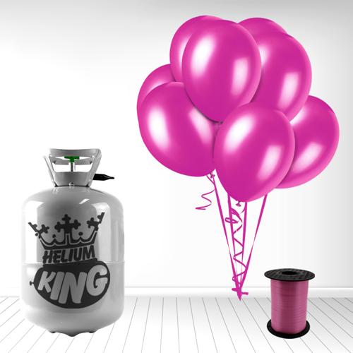 Cilindro desechable de gas helio con 30 Globos Fuschia y Cinta Rizadores incluido