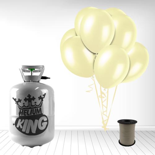 Cilindro desechable de gas helio con 30 globos de marfil y la Cinta Rizadores incluido