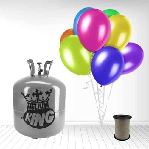 Cilindro desechable de gas helio con 50 globos y cintas espiraladas incluidas