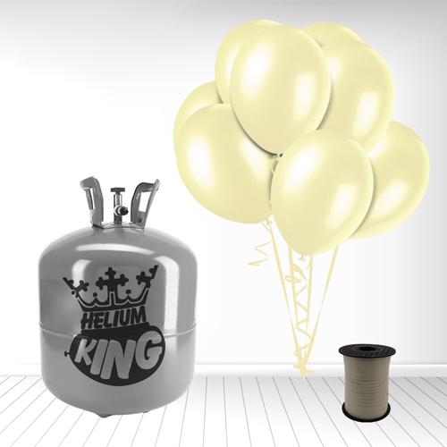 Cilindro desechable de gas helio con 50 Globos de Marfil y la Cinta Rizadores incluido