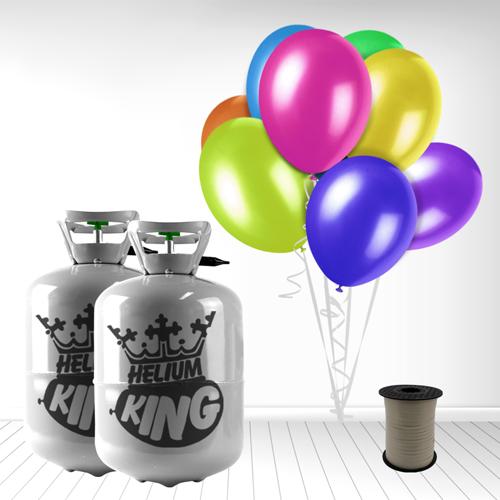 Cilindro desechable de gas helio con 60 globos y cintas espiraladas incluidas