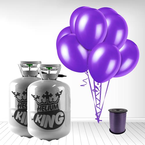 Cilindro desechable de gas helio con 60 Globos color Morado oscuro y Cinta Rizadores incluido