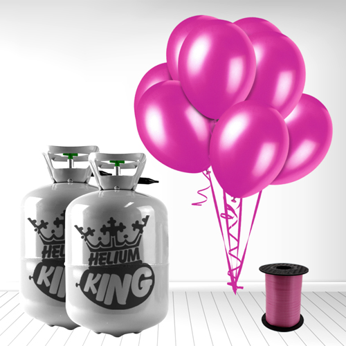 Cilindro desechable de gas helio con 60 Globos Fuschia y Cinta Rizadores incluido
