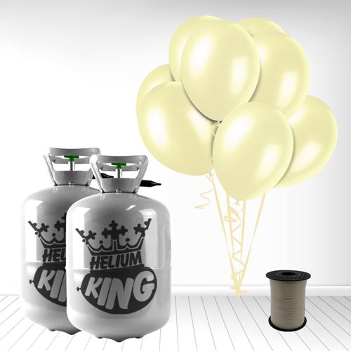 Cilindro desechable de gas helio con 60 globos de marfil y la Cinta Rizadores incluido