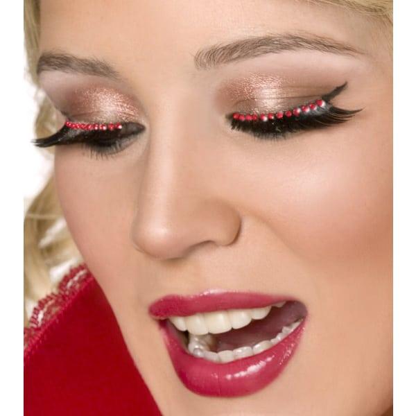 Pestañas Dramáticas con Cristales Rojos