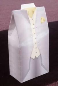 Caja Esmoquin Gris Con Pañuelo Amarillo