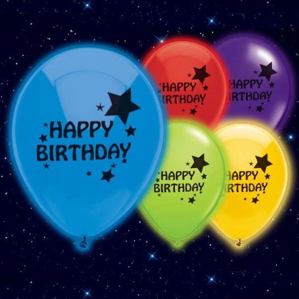 Feliz Cumpleaños Impreso 23 cm Globos Luminosos - Pack de 5