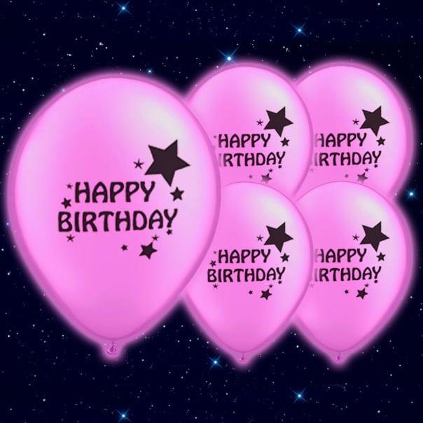 Feliz Cumpleaños Impreso Rosa 23 cm Globos Luminosos - Pack de 5