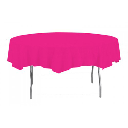 Mantel Redondo Plástico Rosa Fuerte 213Cm Redondo