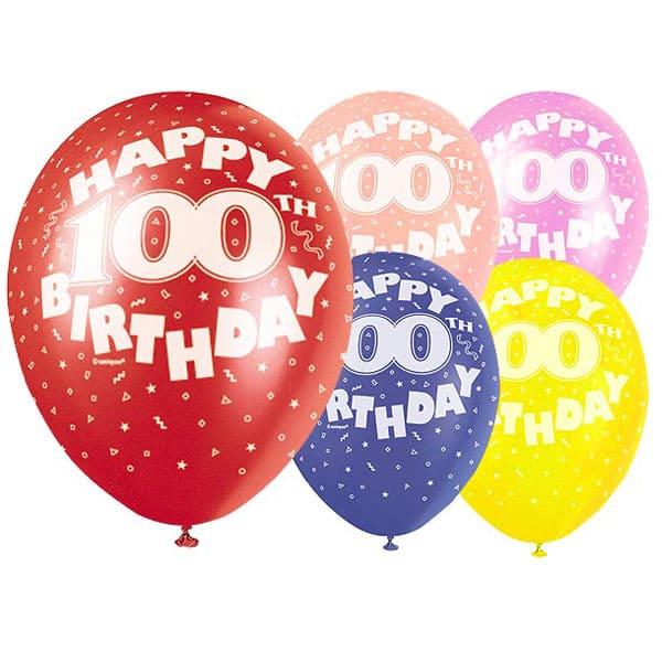 Surtido De Globos De Látex Biodegradables Para El Cumpleaños Número 100 - 12 Pulgadas / 30 Cm - Paquete De 5