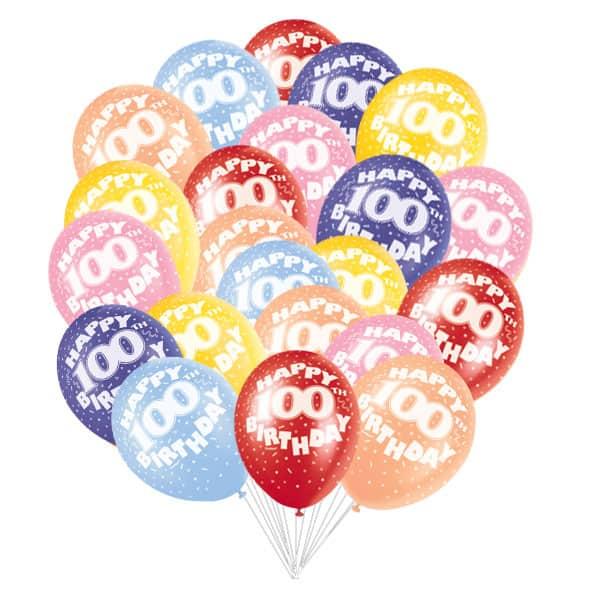 Surtido De Globos De Látex Biodegradables Para El Cumpleaños Número 100 - 12 Pulgadas / 30 Cm - Paquete De 50