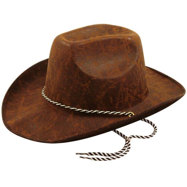 Cuero de Mira Marrón Fieltro Sombrero del Vaquero de Adultos