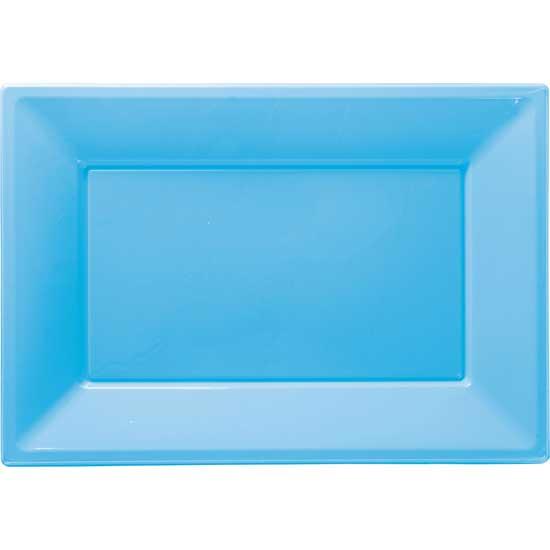 Bandeja Azul Celeste Rectangular de Plástico 23 x 33 cm - Pack de 3