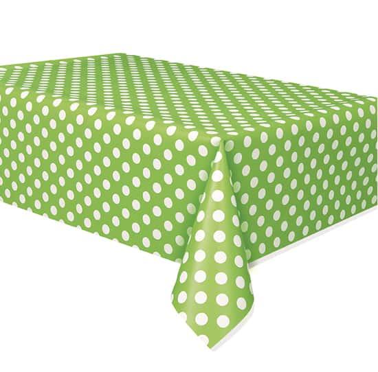 Mantel Plástico Verde Lima Puntos Decorativos 274Cm X 137Cm