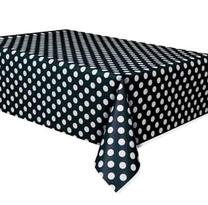 Mantel De Plástico Negro Medianoche Con Puntos Decorativos 274Cm X 137Cm