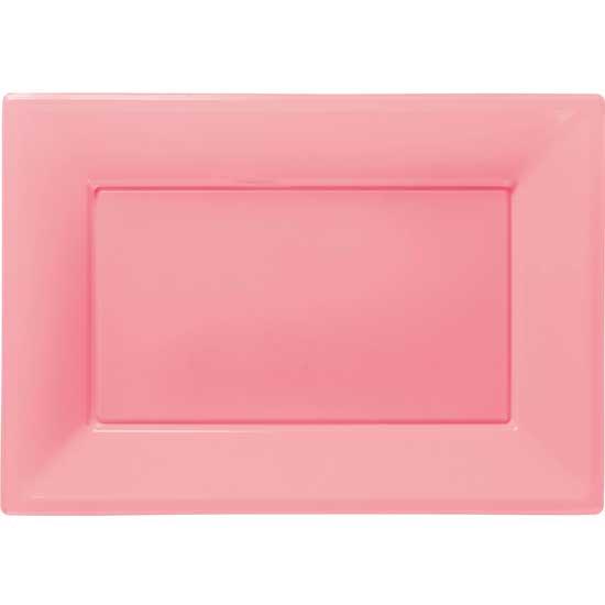 Bandeja Rosa Rectangular de Plástico 23 x 33 cm - Pack de 3