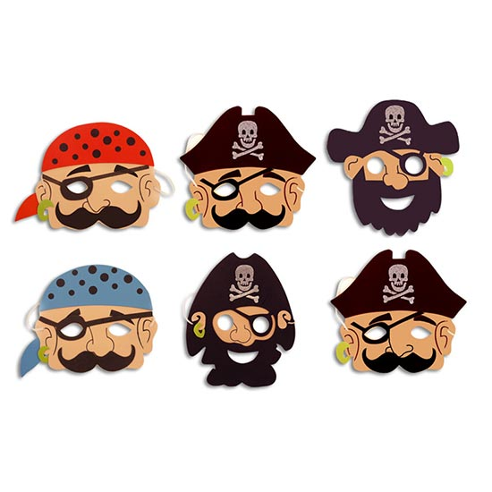 Pirata de Espuma Máscara - Pack de 6