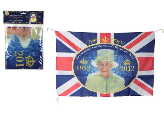 Queens jubileo de diamante Commemorative Tema Rayon bandera 36 x 24 pulgadaes