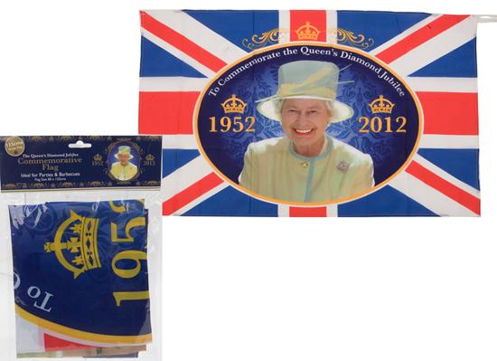 Queens jubileo de diamante Commemorative Tema Rayon bandera 52 x 32 Pulgadas