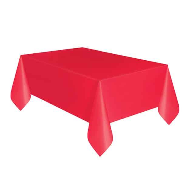 Mantel De Plástico Rojo 274Cm X 137Cm