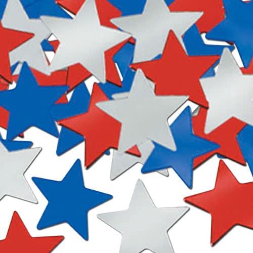 Rojo Plata Azul Estrellas Confeti de Mesa 28 Gramos