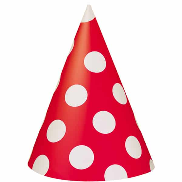 Rojo Rubí Puntos Decorativos Gorritos de Fiesta