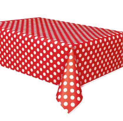 Mantel De Plástico Con Puntos Decorativos Rojo Rubí 274Cm X 137Cm