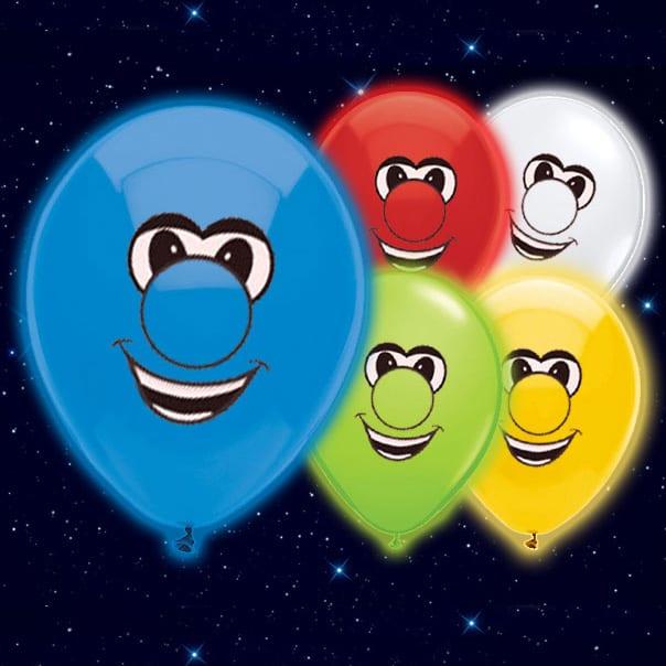 Globo Luminoso Cara Sonriente 23cm - Paquete de 5
