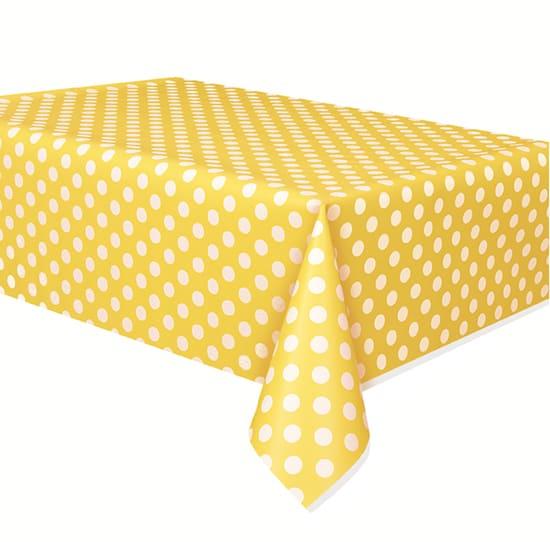 Mantel De Plástico Con Puntos Decorativos Amarillo Girasol 274Cm X 137Cm