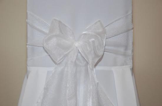 Pajarita de Silla Blanco Organza de Boda 3M x 22cm - Unidad