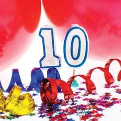 Suministros de fiesta de cumpleaños 10