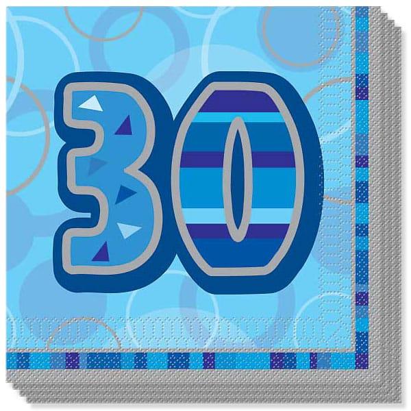 Edad 30 Azul Glitz - Servilletas - Pack de 16 - 33cms - 3capas