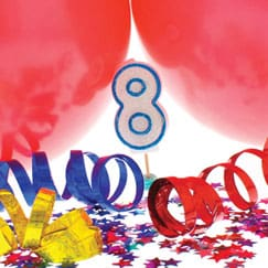 Suministros de fiesta de cumpleaños octavo