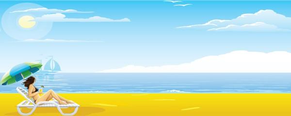 Banner personalizado mediano para diseño de playa y hamacas - 6 pies x 2.25 pies