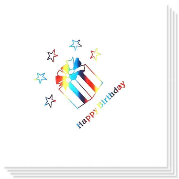 Servilletas Regalo de Cumpleaños Impresión en Foil Multicolor 33cm 3capas - Paquete de 15