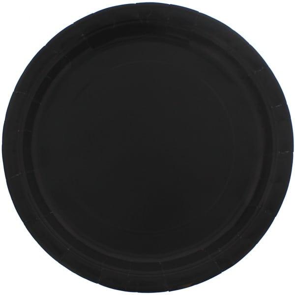 Platos De Papel Redondos Negros 22Cm - Paquete De 16