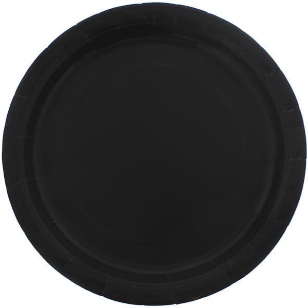 Plato De Papel Redondo Negro 22Cm