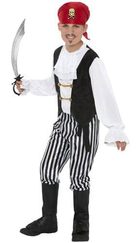 Disfraz de pirata en blanco y negro de 9 a 12 años. Vestido de lujo para niños.