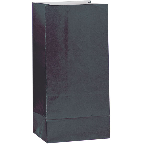Bolsa de Papel Para Fiesta Negra- Paquete de 12