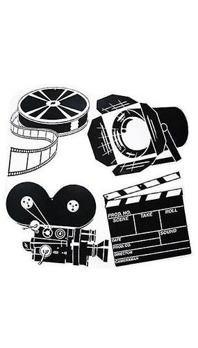Blanco y Negro Figura de Set de Película - Variados - Paquete de 4
