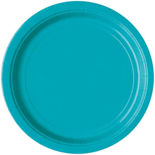 Platos Redondos De Papel Caribeño Verde Azulado 22Cm - Paquete De 16