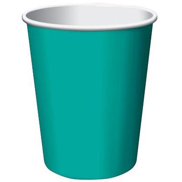 Vasos De Papel Caribe Verde Azulado 270Ml - Paquete De 14