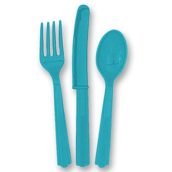Set de cubiertos de plástico turquesa (6 tenedores, 6 cuchillos y 6 cucharas)