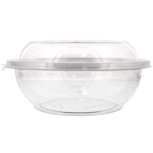 Bol De Plástico Transparente Para Ensalada Con Tapas 1500cc - Paquete de 3