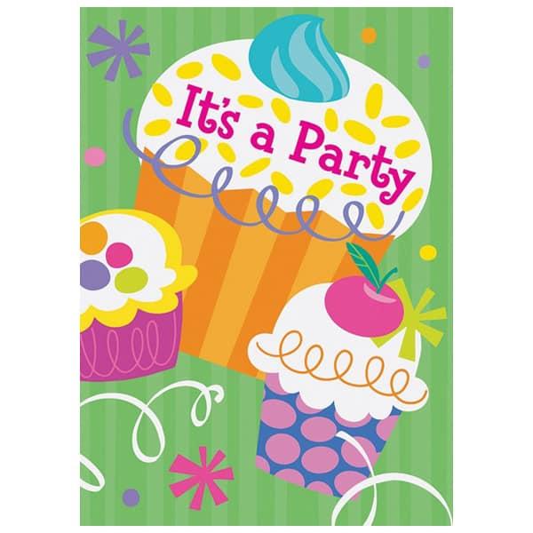 Fiesta Temática Cup Cake Tarjetas de Invitación - Pack de 8