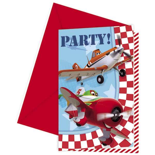 Aviones de Disney Invitaciones con Sobres - Pack de 6