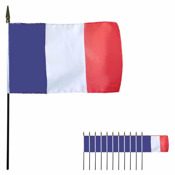 Francia Mano Celebrada Bandera de Tela 15 x 10 cm - Pack de 12
