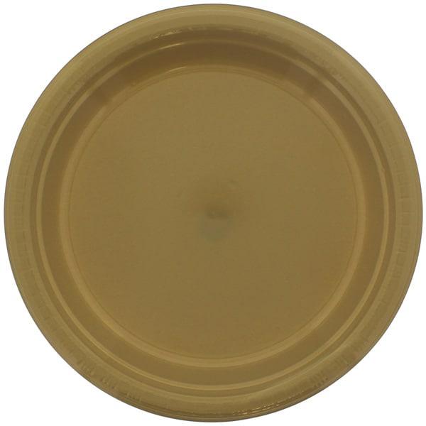 Platos De Plástico Redondos Dorados 23Cm - Paquete De 20