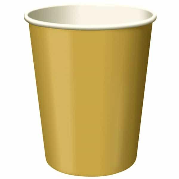Vasos De Papel Dorado 270Ml - Paquete De 14